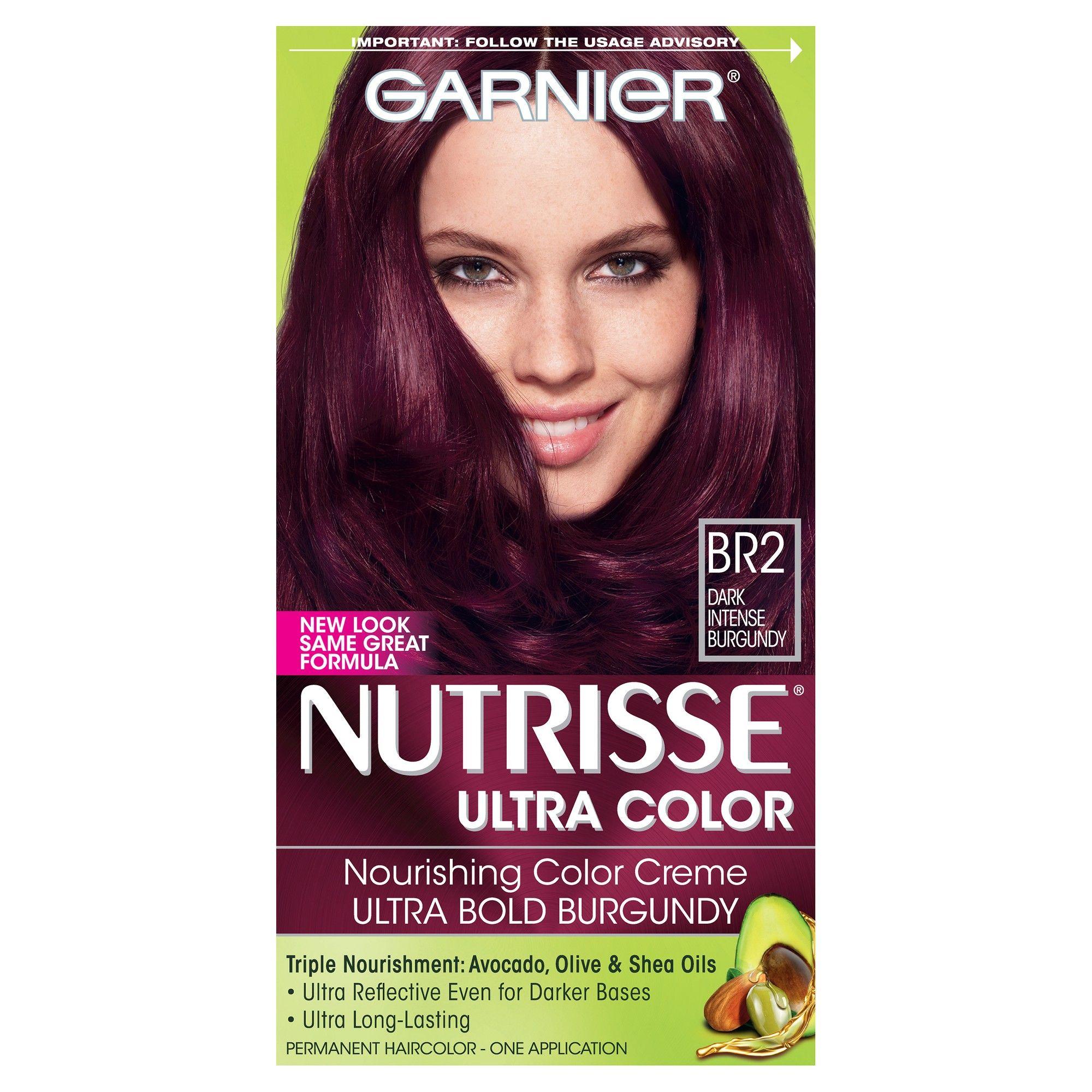 Garnier Nutrisse Ultra Color Nourishing Color Creme Br2 Dark Intense Burgundy In 2020 Hair Color Cream Hair Color Formulas Garnier Hair Color