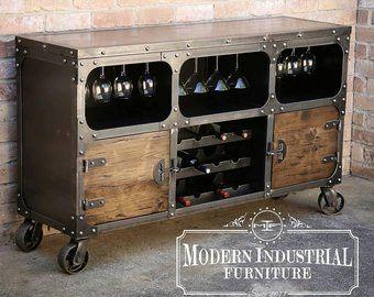Credenza Industrial Fai Da Te : Modern industrial wine cabinet credenza bar storage liquor
