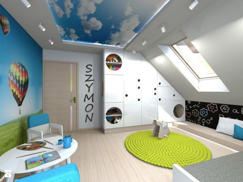kinderzimmer mit luftballons an der wand und himmel fotodecke jugendzimmer pinterest. Black Bedroom Furniture Sets. Home Design Ideas