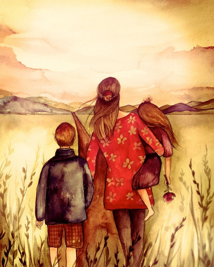 Mother with son and daughter in a field | Pintura de madre e hijo ...