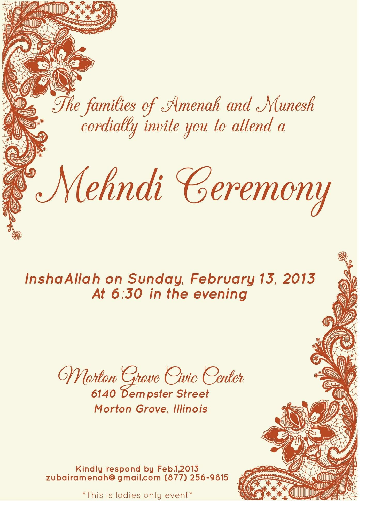 Pin by Invite line on Mehndi Invitations Wording Samples
