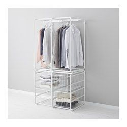 IKEA - ALGOT, Frame with rod and wire baskets, The parts in the ALGOT series can be combined in many different ways and easily adapted to your needs and space.Also stands steady on an uneven floor since the feet can be adjusted.The basket glides smoothly and has a pull-out stop to keep it in place.Can be used anywhere in your home, even in damp areas like the bathroom and under covered balconies.