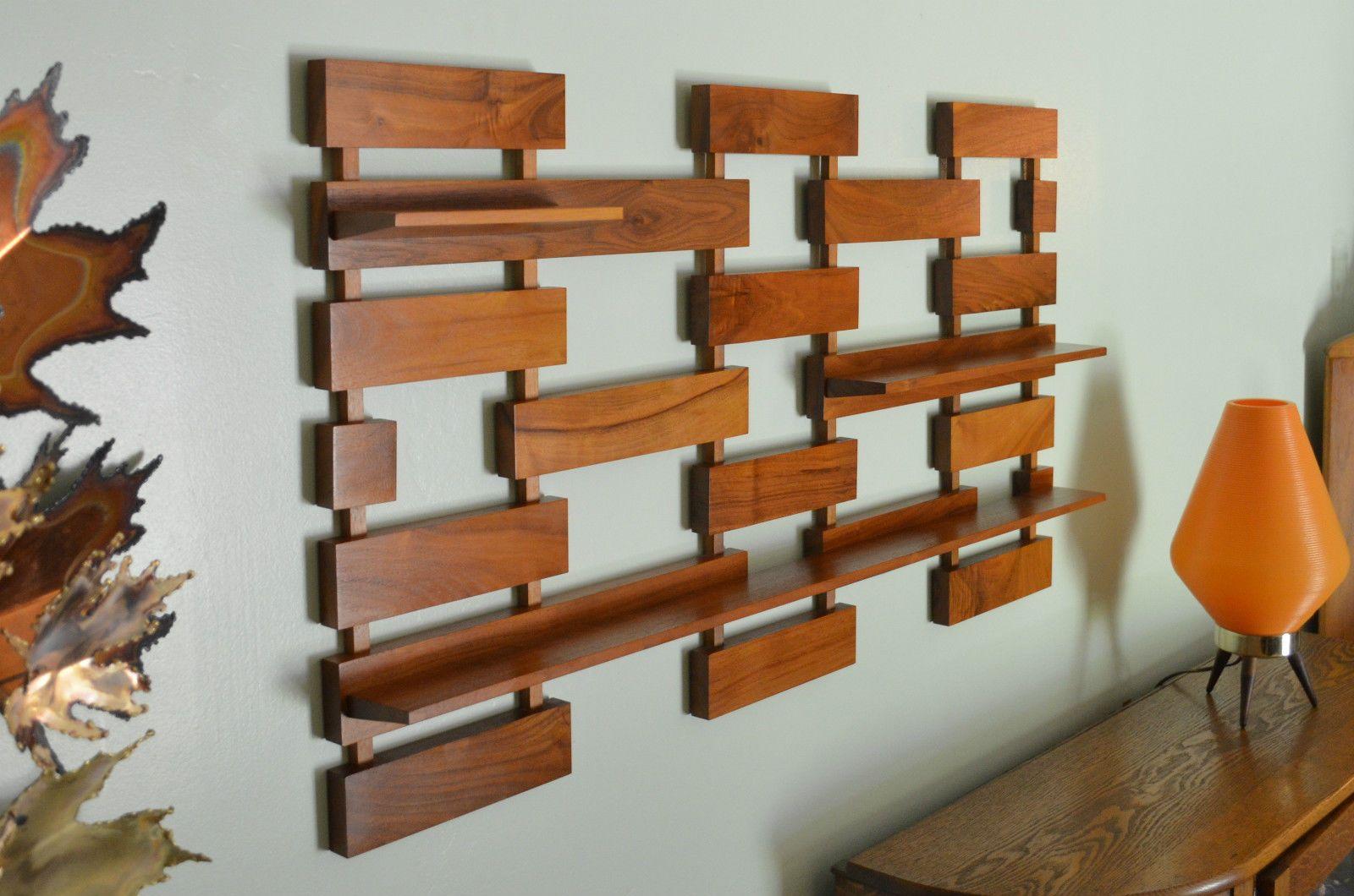 Mid Century Modern Wall Art vintage belart co. wall shelf teak wood mid century modern | my