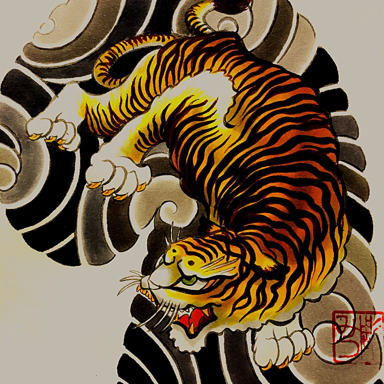 Sketch | japanese | Tiger head tattoo, Art, Japan art