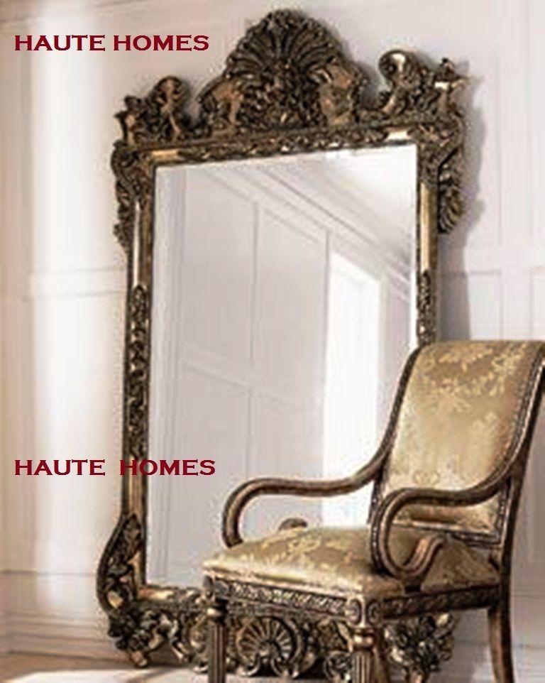 Horchow Oversize Large 84 Ornate Scroll Silver Leaf Baroque Floor Mirror Floor Mirror Mirror Decor Decor