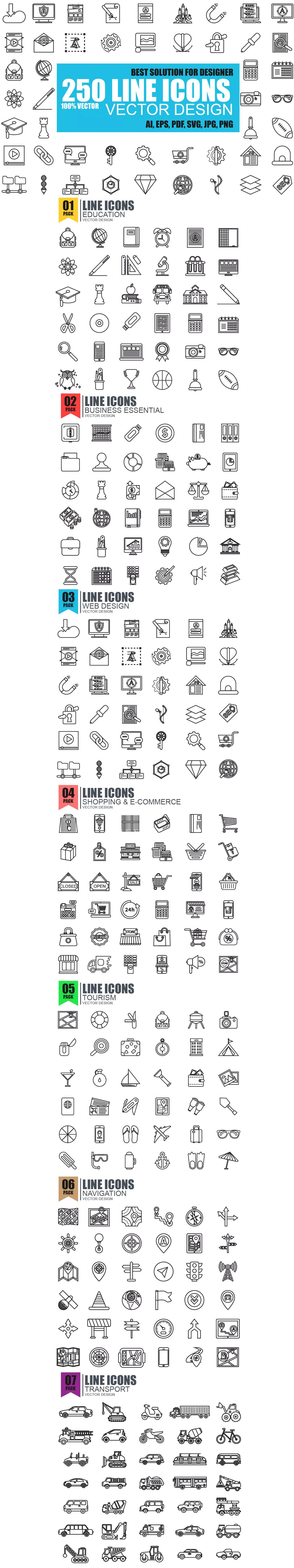 Simple Line Icons AI, EPS | Icons | Line icon, Simple lines