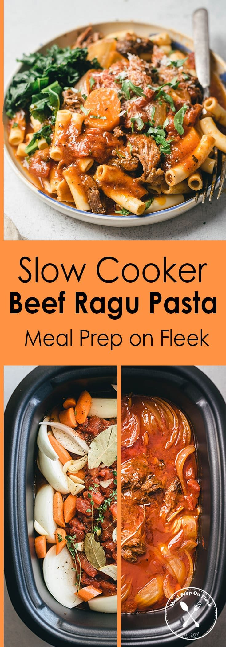 Slow Cooker Beef Ragu Pasta Meal Prep - Meal Prep on Fleek™