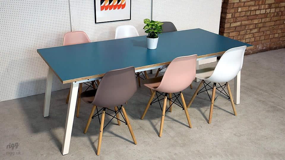 Stance Dining Table White Legs Blue Top By Rigg Dining Table