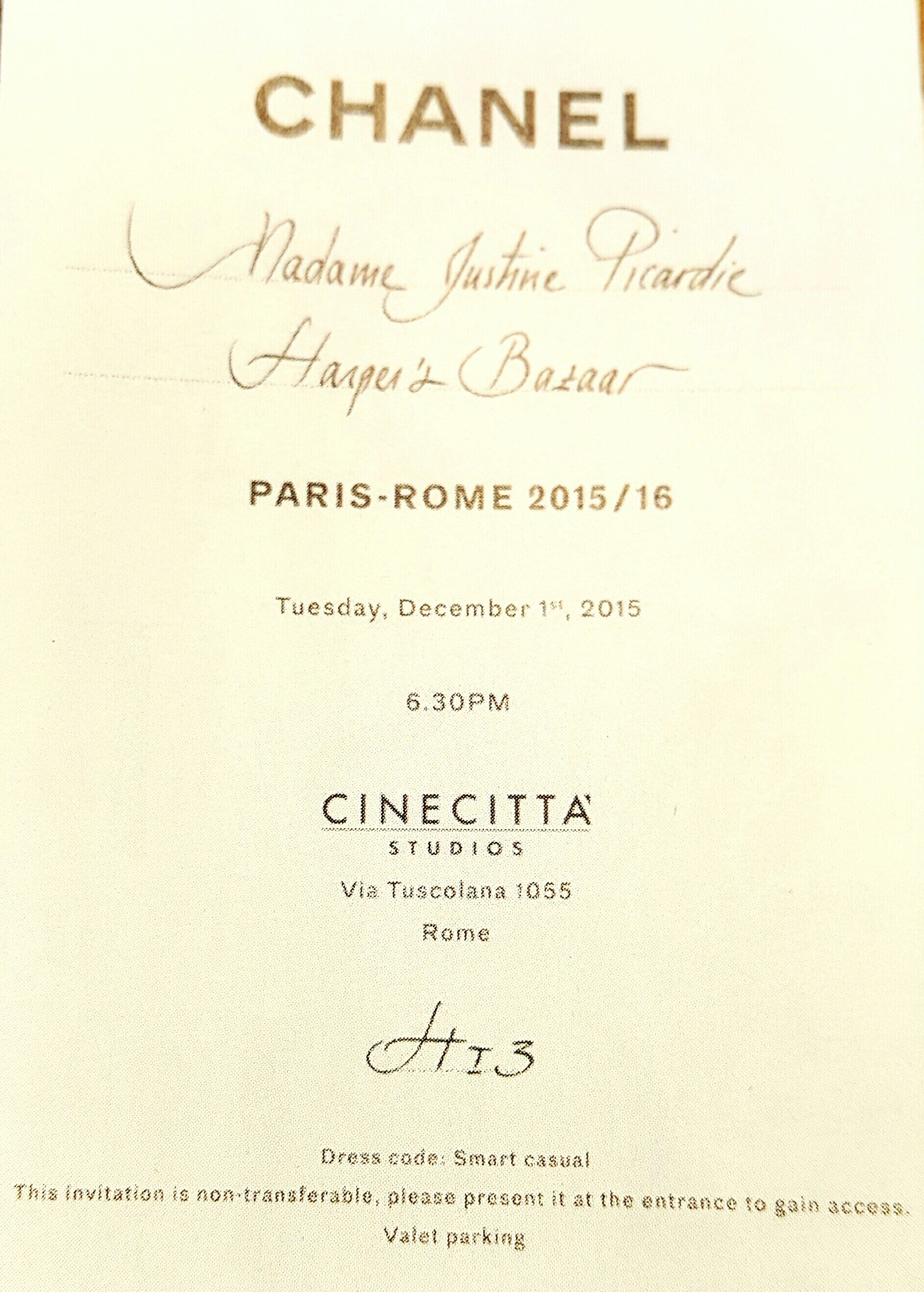Chanel ,, Fashion Show Invitation