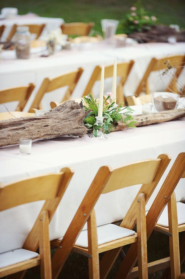 Wood, Candles, Greenery. Such Pretty And Inexpensive Wedding Table  Centerpieces!