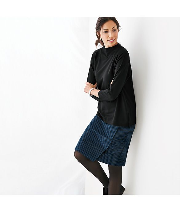 ponte knit wrap-style skirt if you like a pencil skirt, you'll want this style- it's so comfortable and pars perfectly with our ponte top.