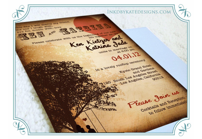 Vintage Rustic Wedding Invitations Autumn Fall