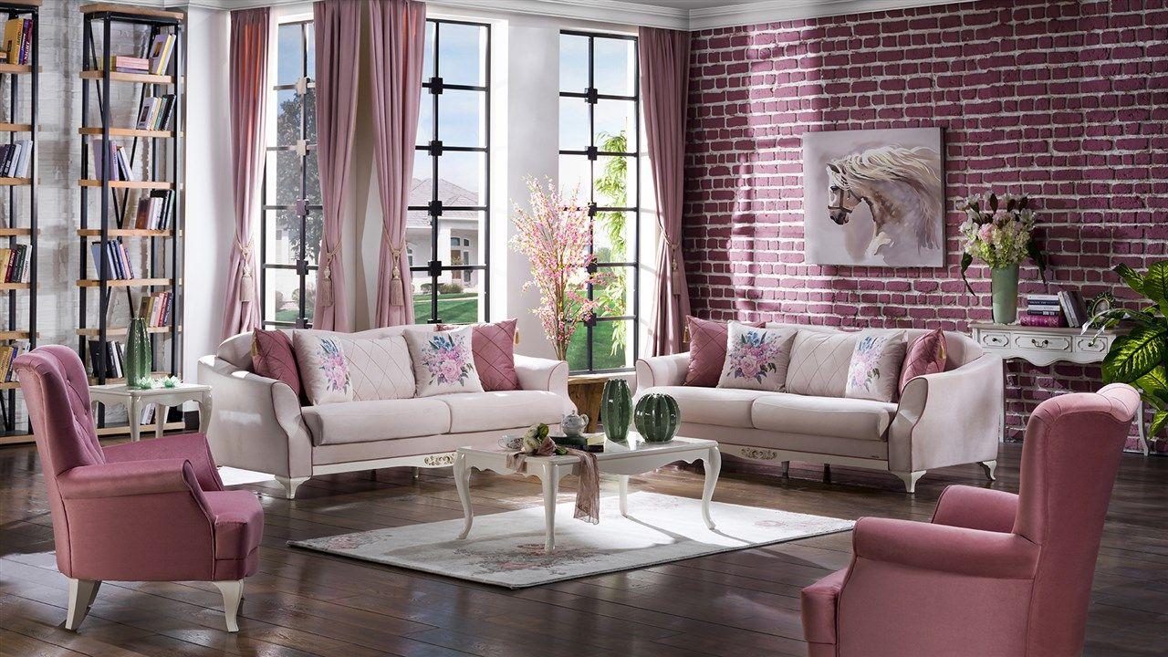 Valdes Koltuk Takimi Cimen Krem Living Room 2019 Klasik