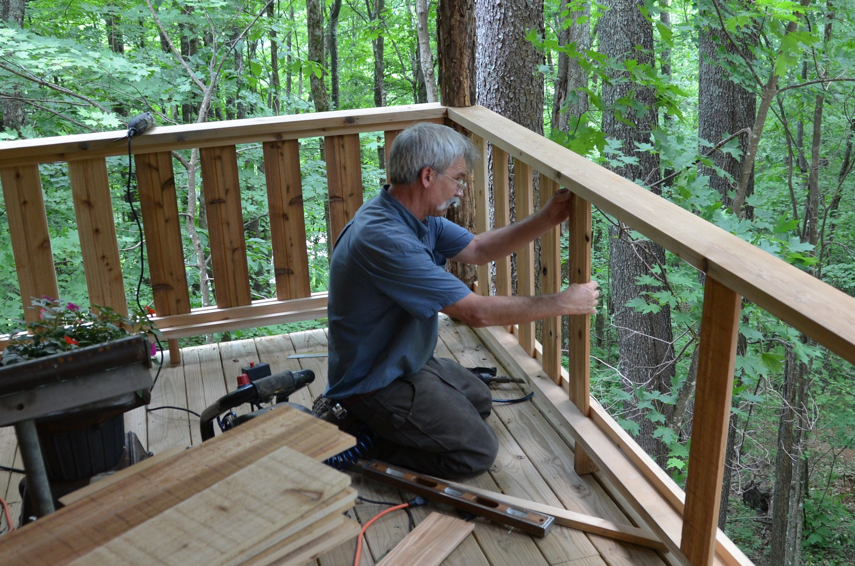 Phillip Carefully Mortised The Upper And Lower 2x6 Rails Into Locust Porch Columns Description From Cabinwoodworks