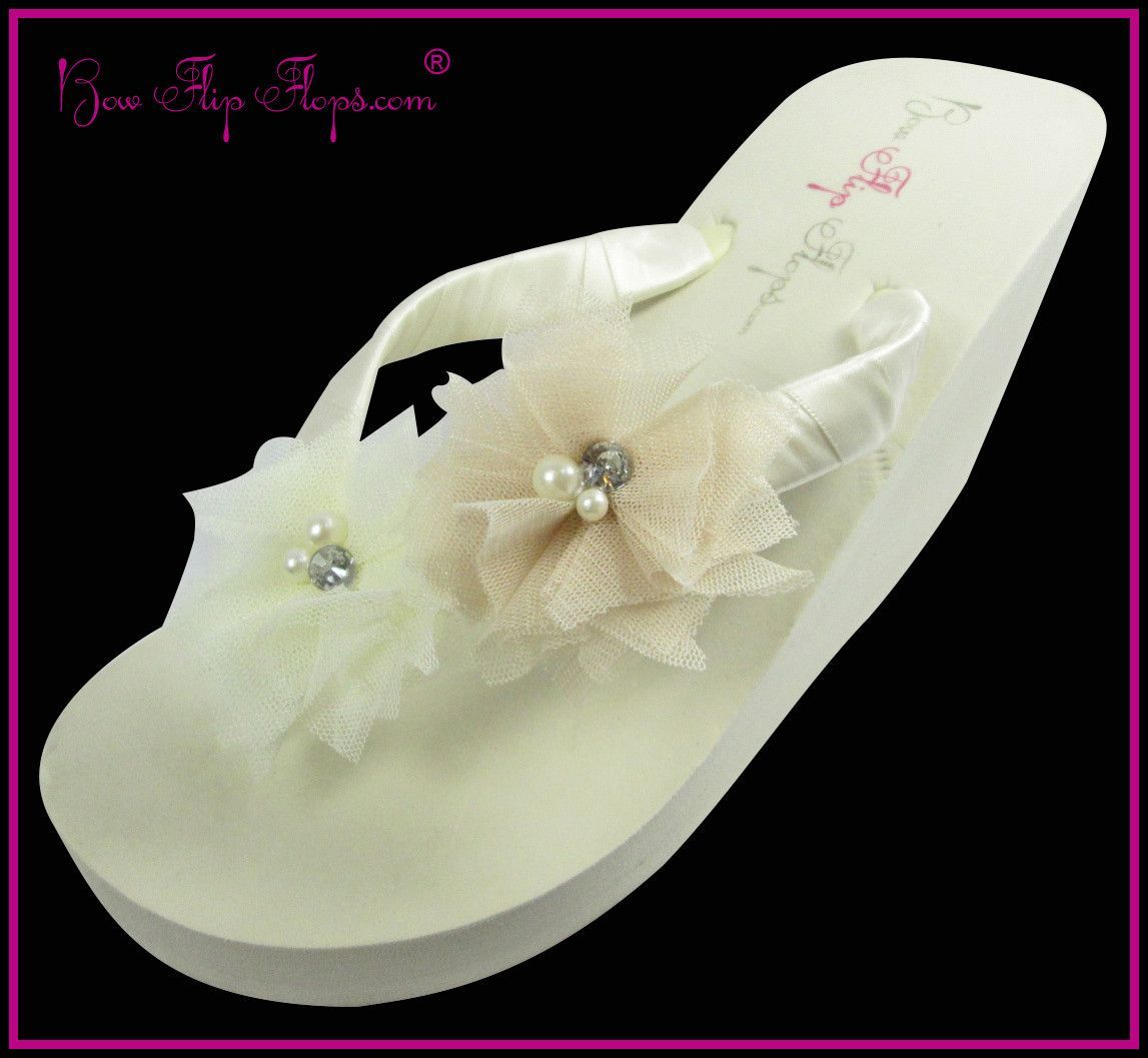 a129a362ba5 Bridal Flip Flops Ivory Tulle Pearl Rhinestone Flower Wedge Womens Wedding  Platform Satin Flip Flops
