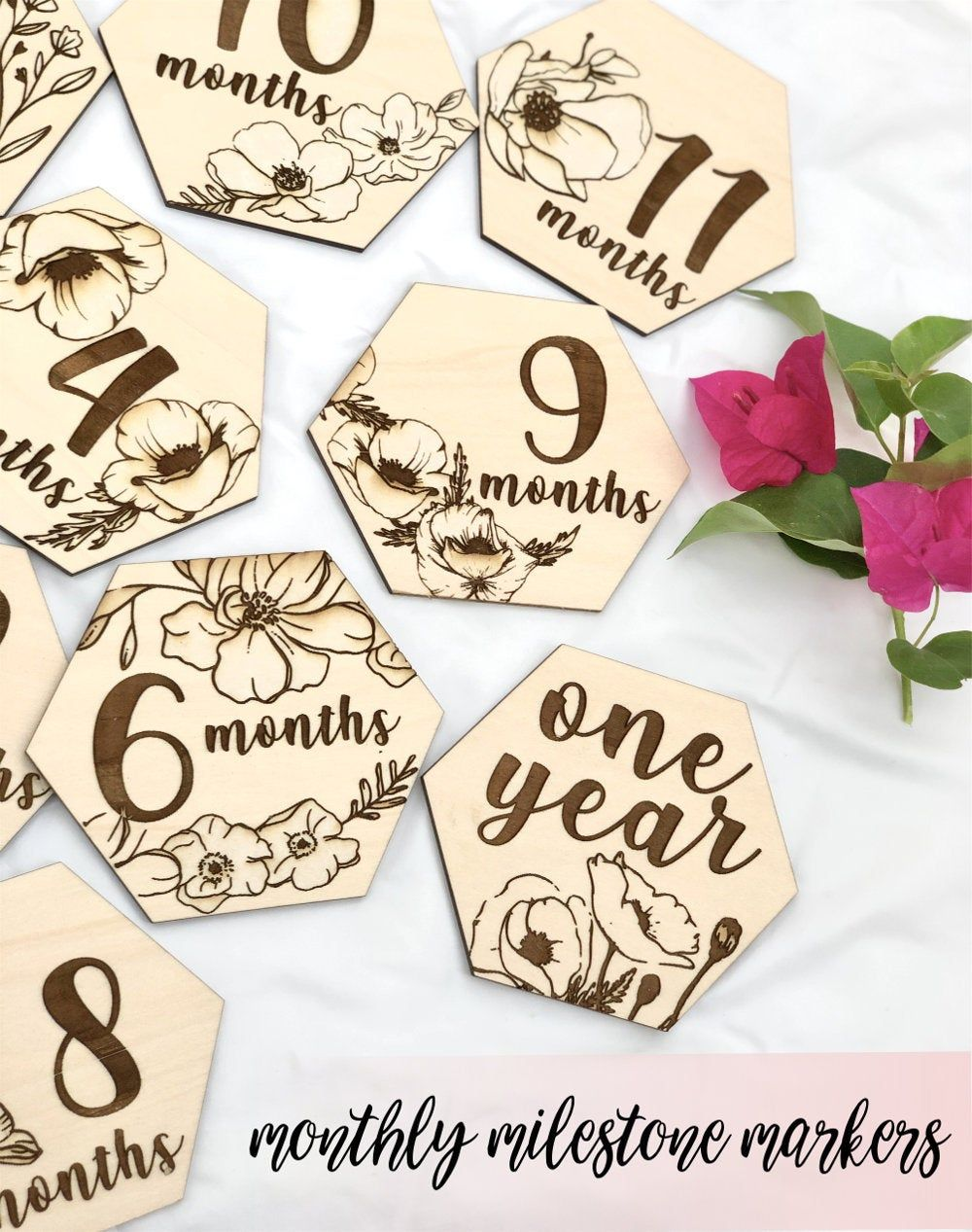 New Baby Picture Props Floral Markers Photo Props Milestone Markers Flowers,Two Sided Baby Girl Baby Monthly Milestones Wood Markers