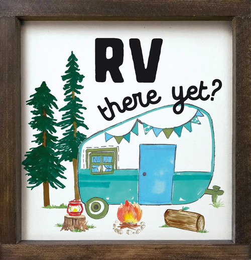 Rv There Yet Wood Framed Sign With Camp Scene Graphic Wood Frame Sign Wood Signs Wood Print