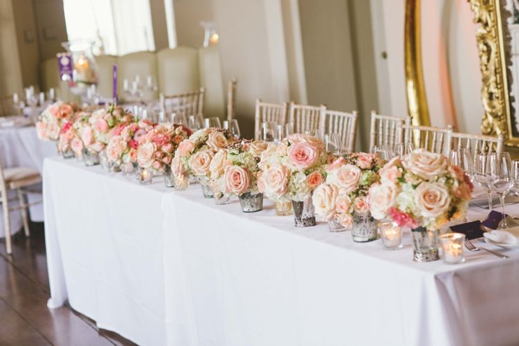 Table Flowers Roses Pink Cream Candles Decor Indian Glamour English Countryside Chic Wedding http://www.jayrowden.com/