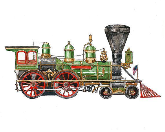 Green Steam Engine Locomotive Watercolor Print 8x10 Etsy Train Illustration Steam Engine Trains Toy Train