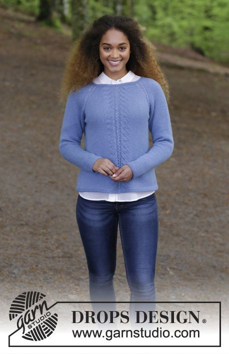 c9a35db2855b Blue Hour - Knitted jumper with raglan and lace pattern