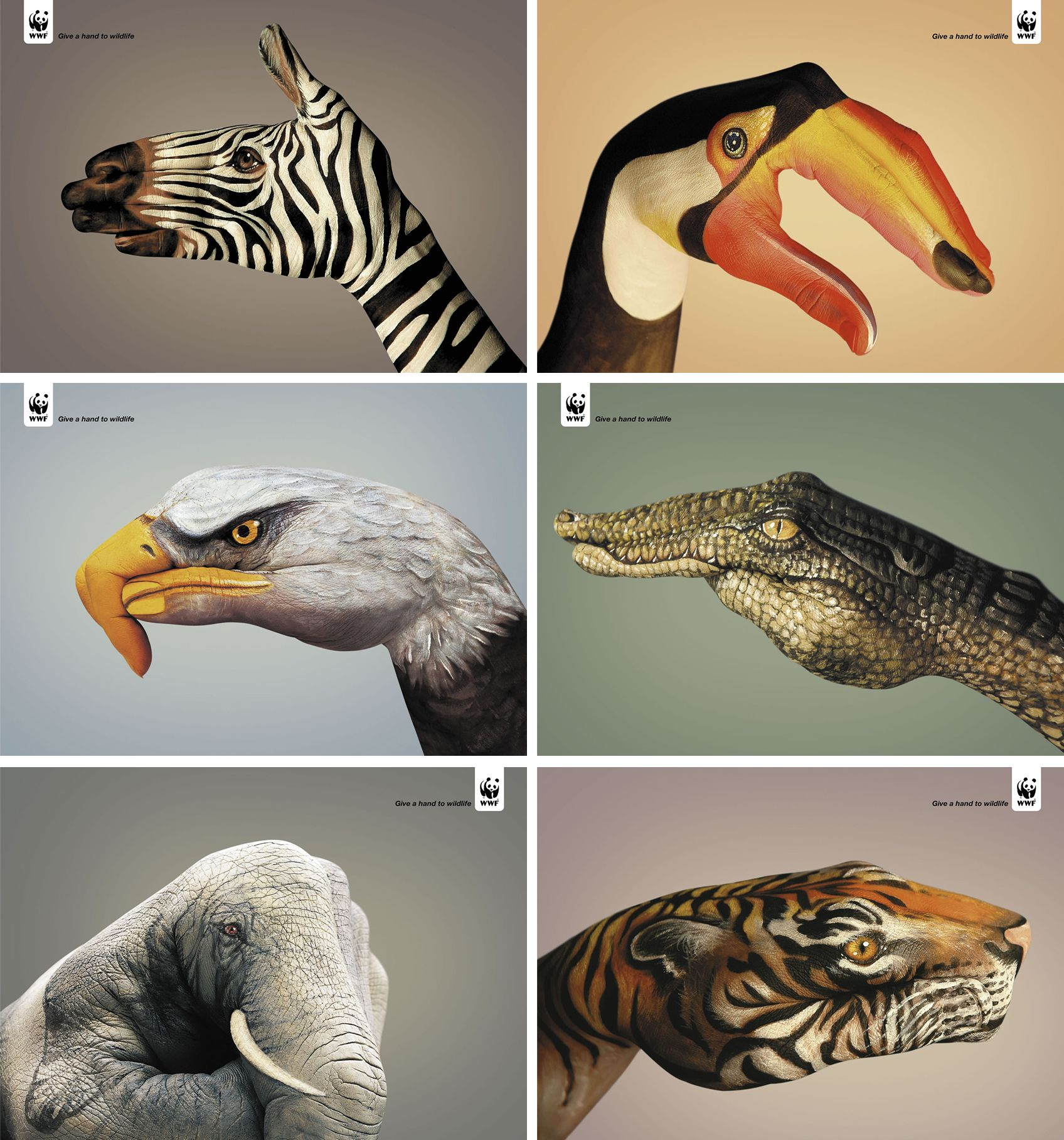 These six print advertisements are made for WWF by well