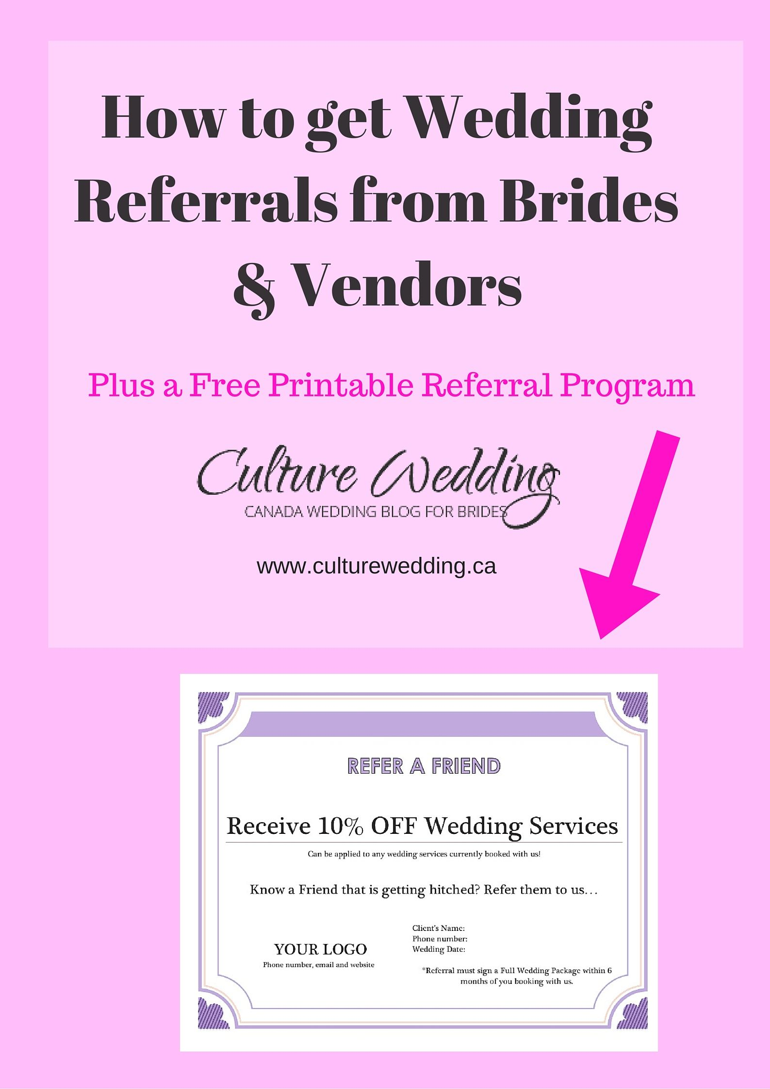 How to get Referrals from Clients and Vendors   Business, Wedding ...