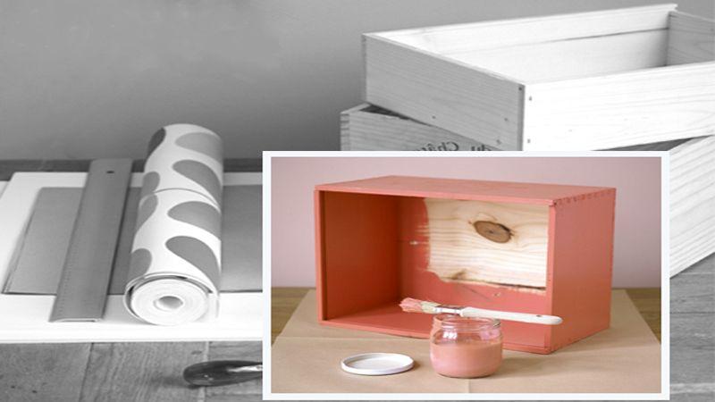 fabriquer des tag res avec des caisses en bois livres d co et comment. Black Bedroom Furniture Sets. Home Design Ideas