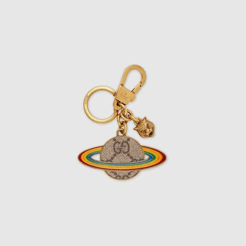 Gucci Rainbow embroidered leather keychain YAe1LOb2f