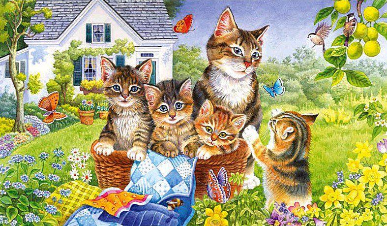 Shema Vyshivki Na Dache Vyshivka Krestom Susse Katzen Katzen