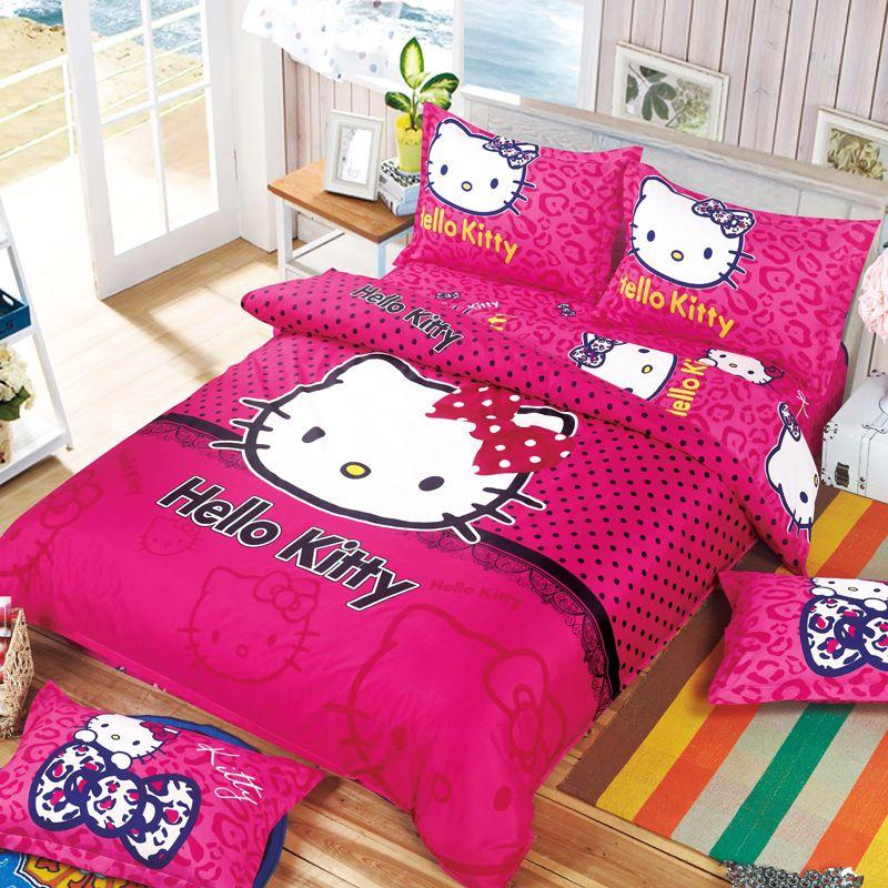 Beau Hello Kitty Bedding Set Children Cotton Bed Sets Hello Kitty Duvet Cover  Bed Sheet Pillowcase 4pcs