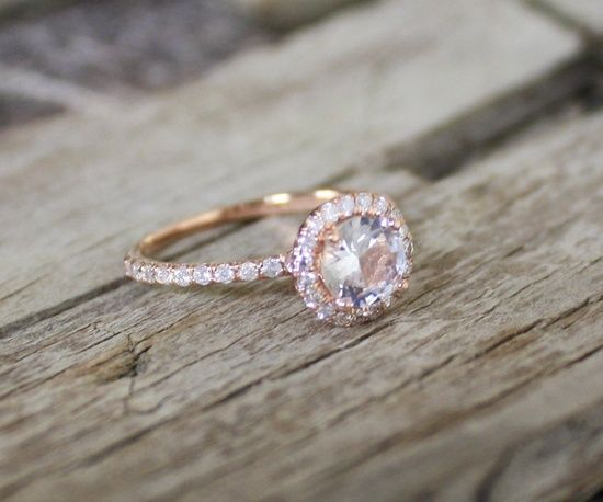 1.02 Cts. White Sapphire Diamond Engagement Ring in 14K Rose Gold Halo Setting. $ 1,450.00 » THIS IS THE