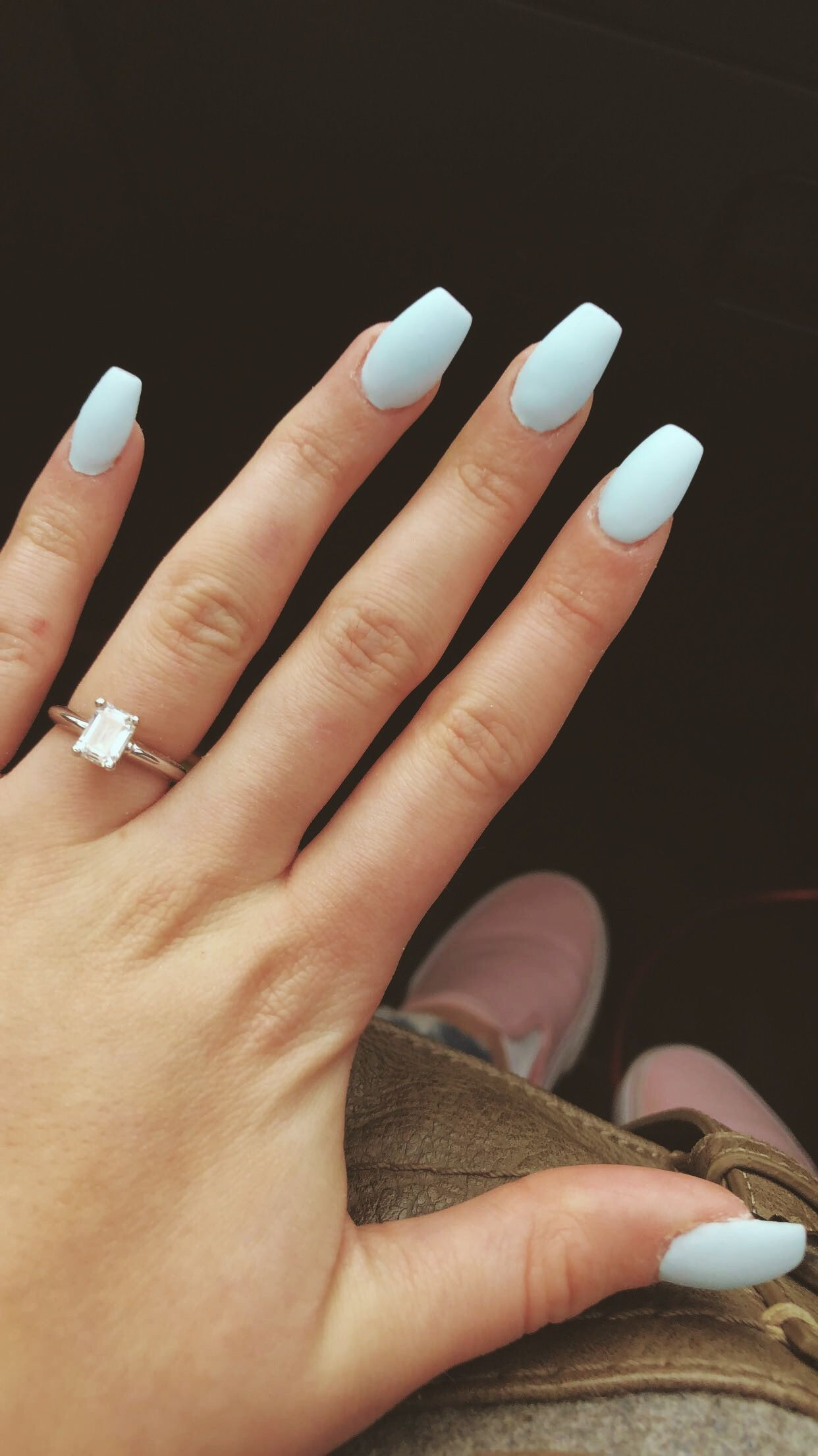 Matte Baby Blue Nails So Cute Baby Blue Nails Baby Blue Acrylic Nails Short Acrylic Nails Designs