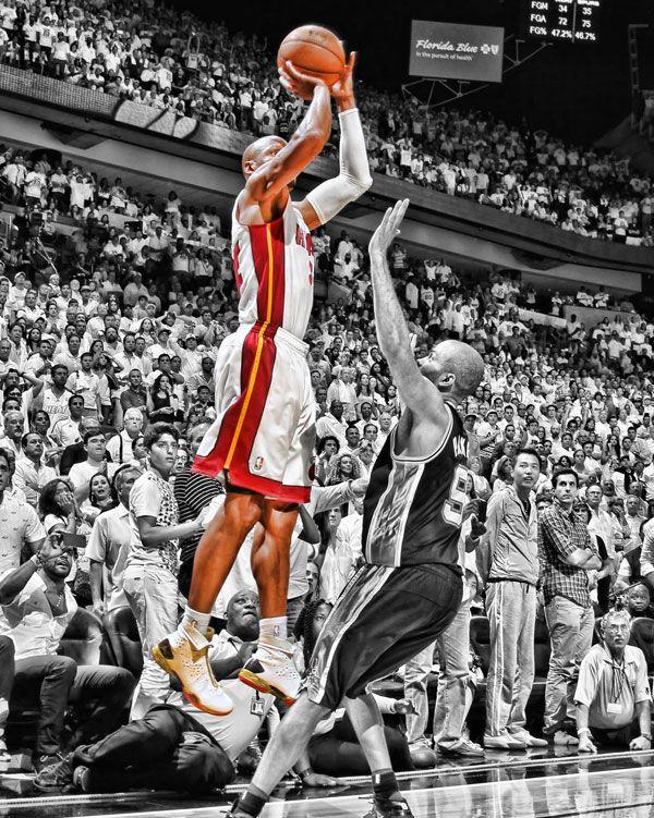 Rareink Nba Championship Art Ray Allen Jpg 600 751 Pixels Ray Allen Nba Shot Nba Pictures Miami Heat Basketball 2013 Nba Finals
