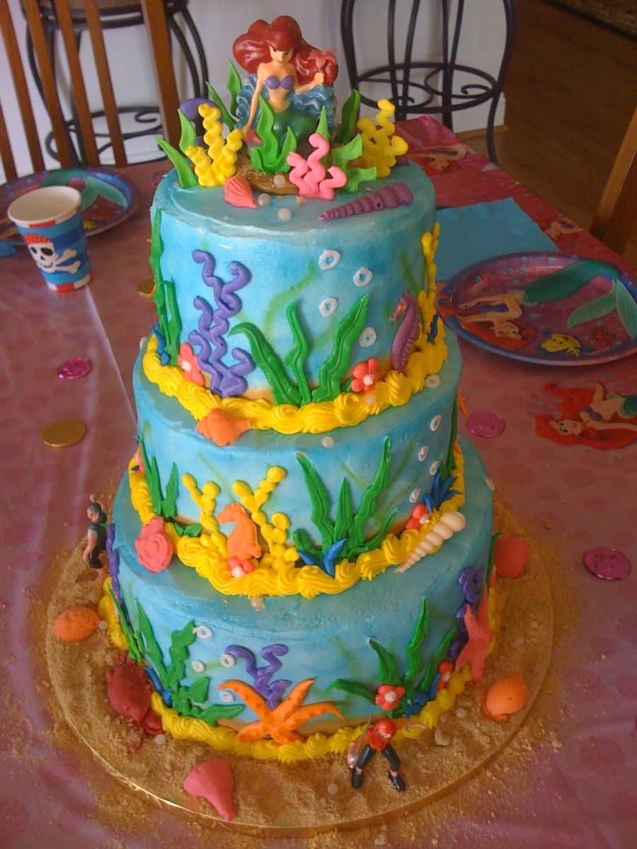 3 Tier Little Mermaid Cake On Cake Central Cake And