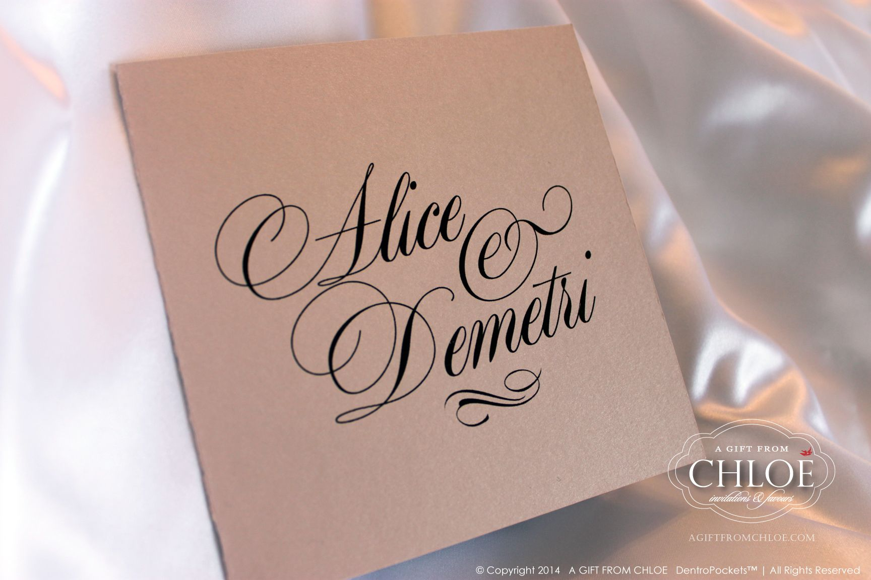 SIGNATURE GLAM vintage wedding invitation pocket cover - Colours: Taupe, Latte, Silver, and Brown. www.agiftfromchloe.com #art-deco_invitations #metallic_wedding #neutral_invitations #glam_wedding #vintage_wedding #deco_wedding