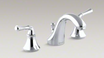 Photo of Forté®Widespread bathroom sink faucet with traditional lever handles  Polished…