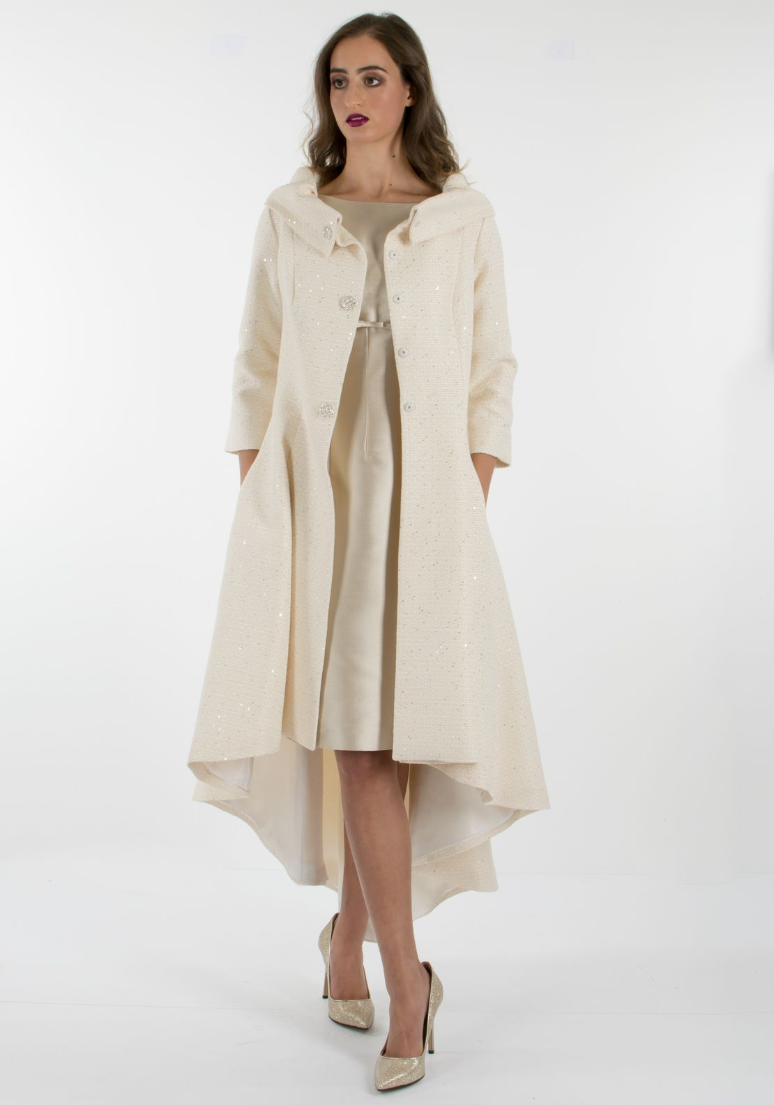 Fely Campo Silk Dress & Coat Outfit | Mother of the ...
