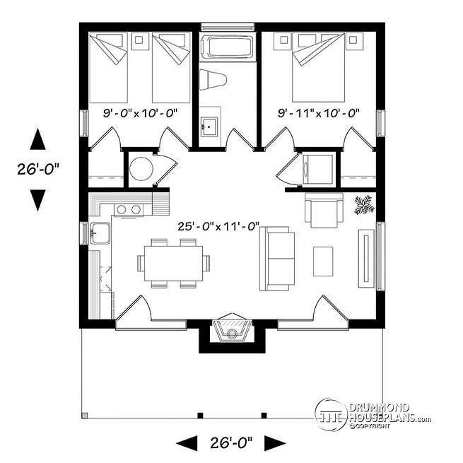 W1909 bh small modern cabin scandinavian inspired for Open floor plan cabin