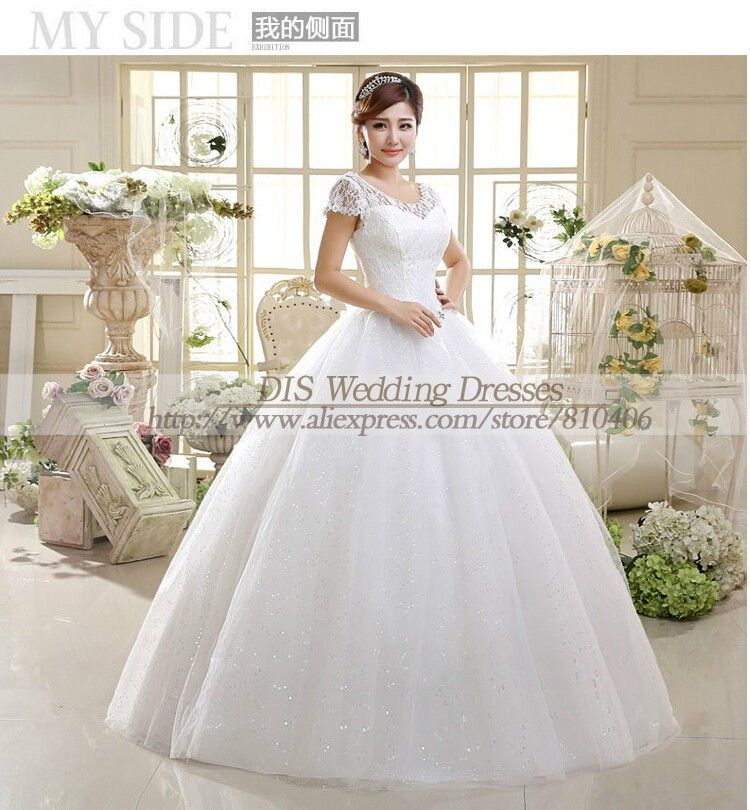 Short Lace Sleeve Summer Style Fashionble #Wedding #Dress Crystal Wedding Dresses 2015 Vintage #Bride #Gowns