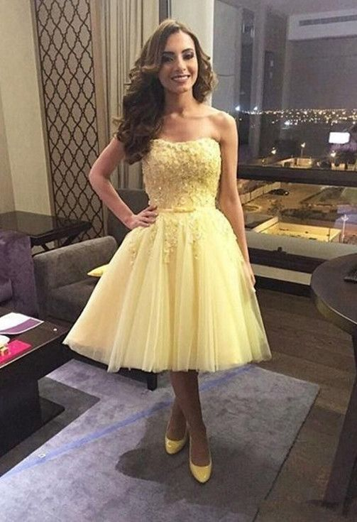 Yellow Short Formal Dresses with Sleeves