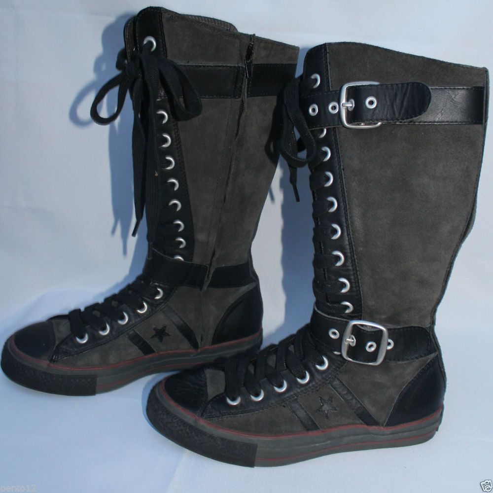 1006a852a28ef5 Converse All Star Grey Black Leather Canvas XX Hi Knee High Tops Boots 6 UK