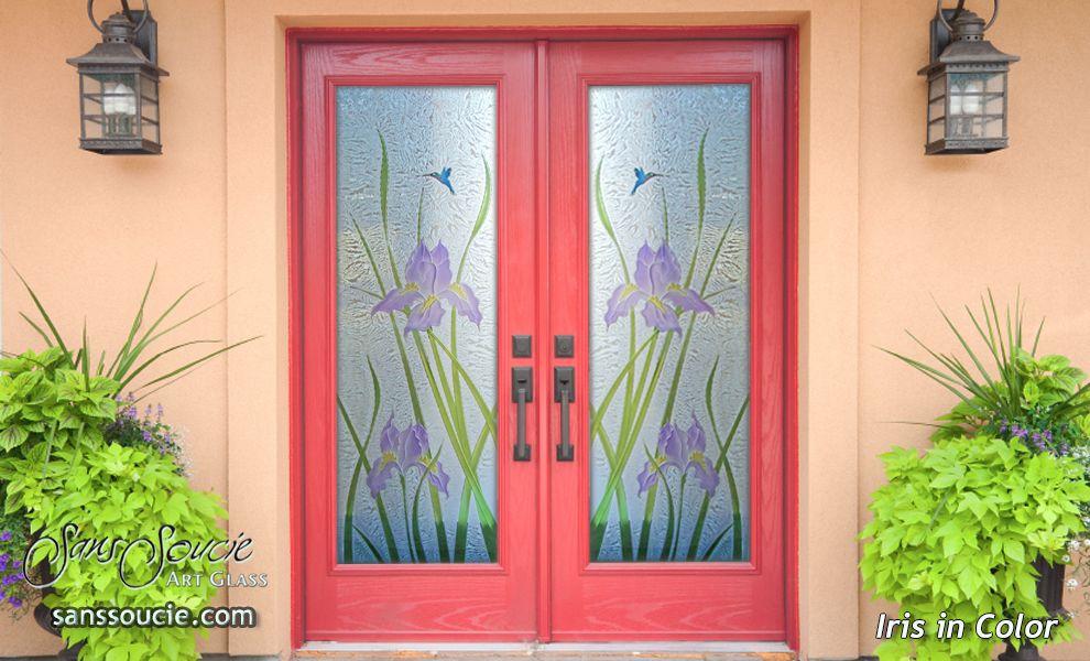 Iris In Color Glass Front Doors Gluechip Background