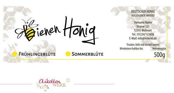 Honigetiketten Design Fur Honig Honigglasetiketten Etiketten Imker Honigglaser Honig Labels Honig Etikette Etiketten Honig