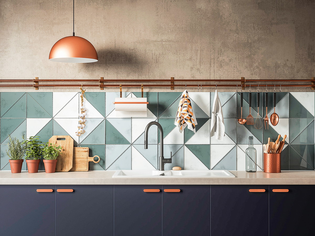 - Triangle Tile Backsplash / Trendy Color With Copper Accents