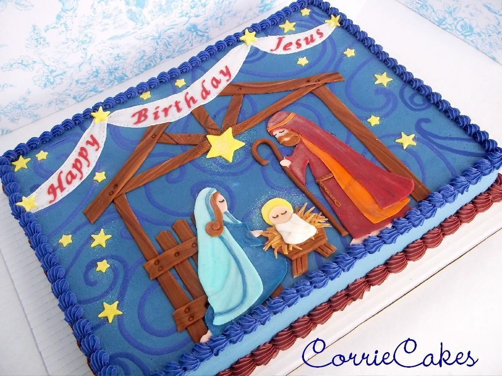 Happy birthday jesus 12 sheet cake iced in bc with mmf