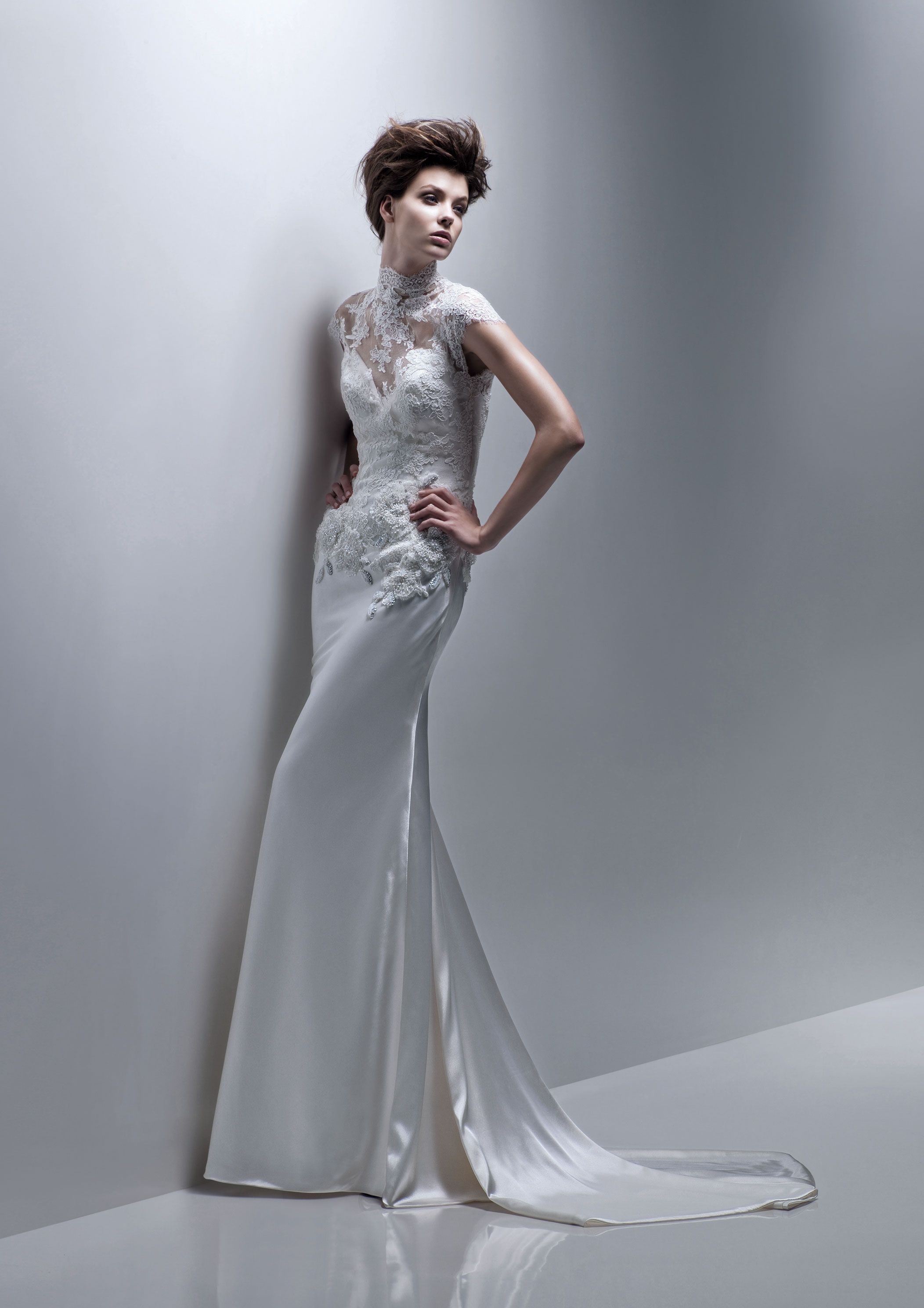 Sheath silk gown with lace bodice illusion cap sleeves and high
