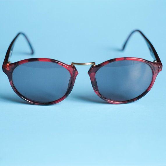 8dc4d80bbe40 90s Sunglasses   Vintage Sunglasses by Carrera   Red and Black Oval  Sunglasses   Retro Round Sunglas