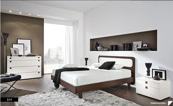 Bedroom, Modern Bedroom Design With Black And White Nuance: Wooden  Furniture With Bay Window For Modern Set Bedroom