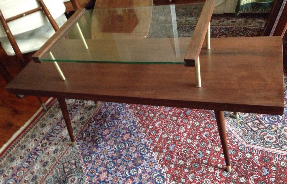 Mcm James Philip 2 Tier Wood Gl Tail Coffee Table Mid Century Atomic Ebay