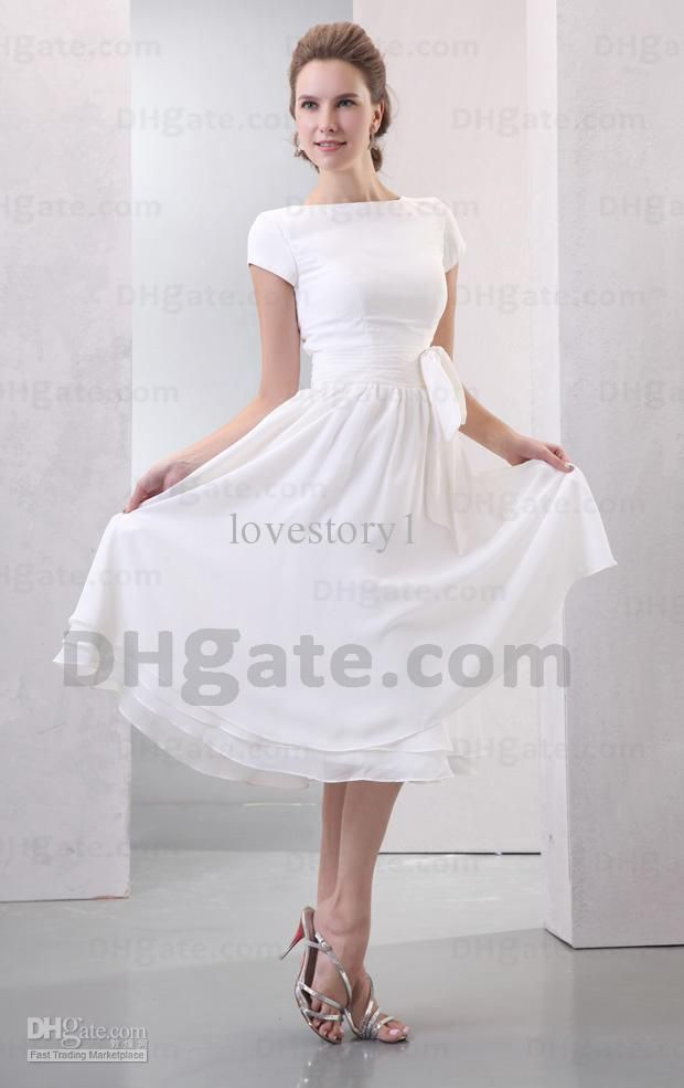 Vintage short sleeves ivory bateau A-Line tea length beach wedding ...